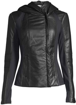 Blanc Noir Hooded Leather Jacket