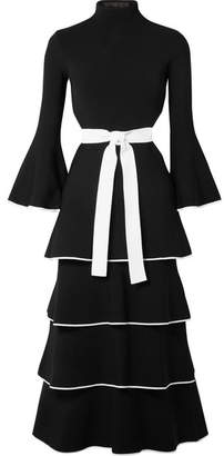 Open-back Tiered Stretch-cady Gown - Black