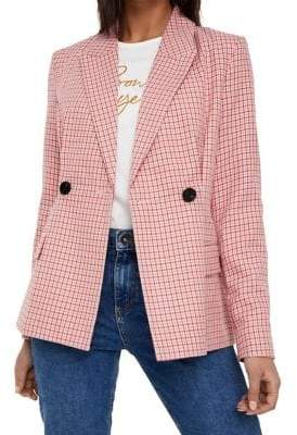 Vero Moda Plaid Double-Breasted Blazer