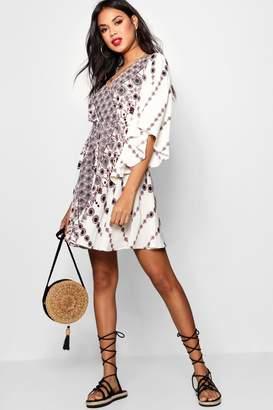 boohoo Kimono Sleeve Bohemian Wrap Skater Dress