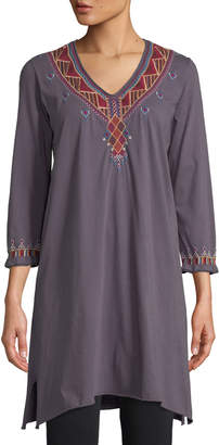 Johnny Was Marjan Embroidered Cotton Tunic Dress