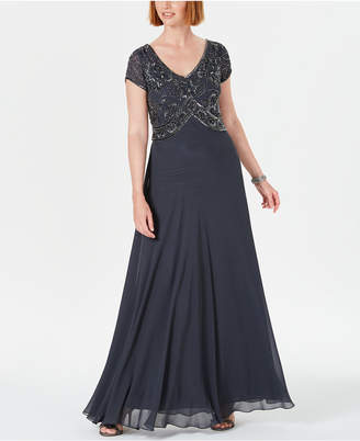 J Kara Embellished Empire-Waist Gown