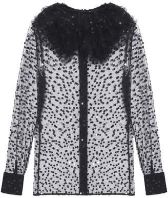 Saint Laurent Sheer Tulle Ruffle Collar Blouse
