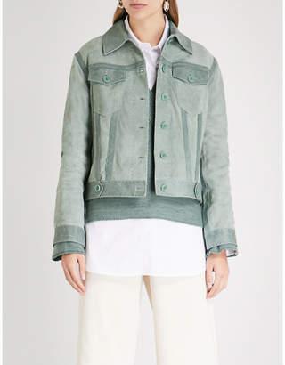 ARJE Peaked collar suede jacket