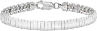Factory The Bling Women's Thick 5.8mm Wide Real Polished Solid Sterling Silver Omega Link Bracelet - 8 Inch + Bonus Polishing Cloth