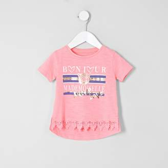 River Island Mini girls Pink crochet hem T-Shirt