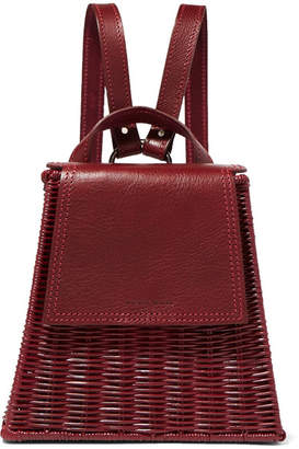 Wicker Wings - Tixting Tall Rattan And Leather Backpack - Burgundy