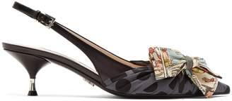 Prada Comic-print bow leather slingback pumps
