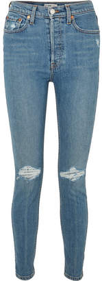 RE/DONE Distressed High-rise Skinny Jeans - Mid denim