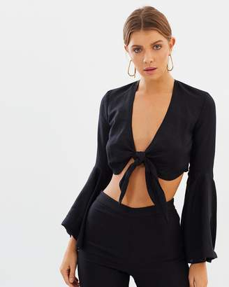 Shona Joy Aria Flared Sleeve Tie Top