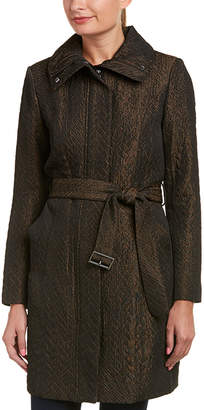 Cole Haan Quilted Leather-Trim Coat