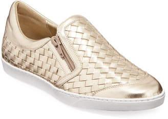 Sesto Meucci Falcon Woven Metallic Leather Sneakers, Pewter