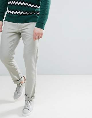 Benetton Slim Fit Linen Chinos In Stone
