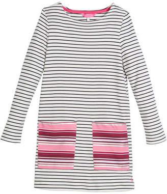 Joules Long-Sleeve Stripe Cotton Shift Dress, Size 3-10