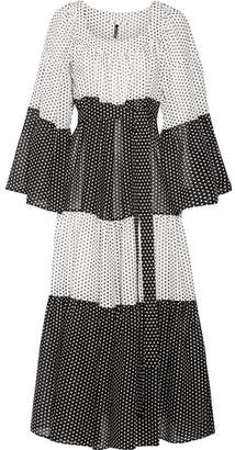 Lisa Marie Fernandez Tiered Polka-dot Cotton-voile Maxi Dress - White