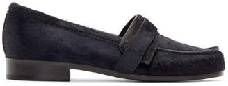 Carritz Navy Calf-Hair Loafers