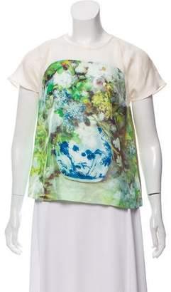 By Malene Birger Silk Printed Short Sleeve Top