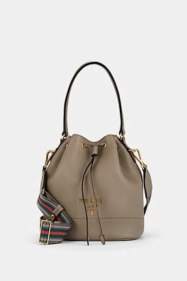 Prada Women's Daino Leather Bucket Bag - Charcoal
