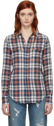 Saint Laurent Navy and Red Western Plaid Shirt