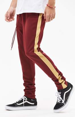 PacSun Drop Skinny 2.0 Tricot Side Stripe Burgundy Pants