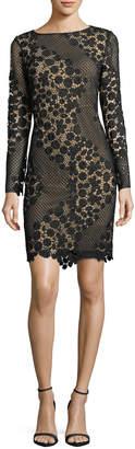 Tahari ASL Long-Sleeve Lace Sheath Dress