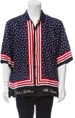 Dolce & Gabbana Silk American Flag Shirt w/ Tags