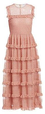 RED Valentino Women's Tiered Point D'Esprit Tulle Midi Dress