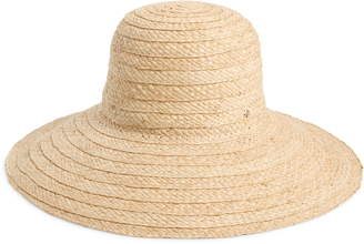 Kate Spade Stripe Underbrim Raffia Sun Hat