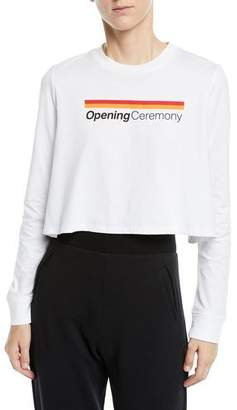 Opening Ceremony Long-Sleeve Graphic Logo Cropped Tee