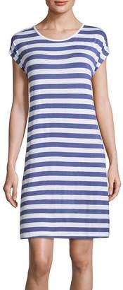 Asstd National Brand Love Dreams Knit Short Sleeve Round Neck Stripe Nightshirt
