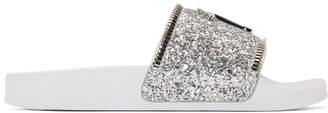 Giuseppe Zanotti Silver Glitter Blytter Slides