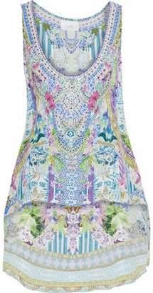 Camilla Salvador Fields Forever Crystal-Embellished Printed Silk Crepe De Chine Top