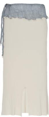 Peet Dullaert Pleated Ribbed-Knit Midi Skirt Size: 32