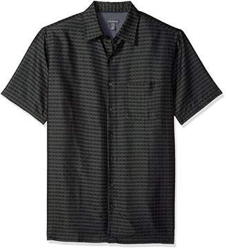 Van Heusen Men's Tall Size Big Short Sleeve Rayon Poly Engineered Panel Shirt
