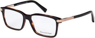 Ermenegildo Zegna EZ5009 Black & Rose Gold-Tone Rectangle Optical Frames