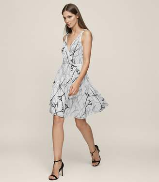 Reiss ELSIE FIT AND FLARE DRESS Black/Offwhite