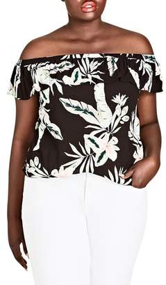 City Chic Oahu Orchid Off the Shoulder Top