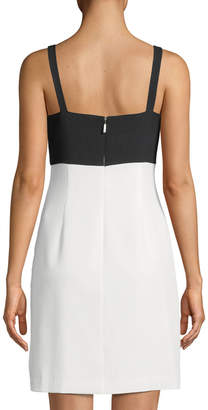 Karl Lagerfeld Paris Two-Tone Bow-Front Cocktail Dress