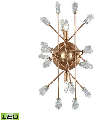 clear Elk Lighting Serendipity 2 Light Sconce in Matte Gold with Bubble Glass
