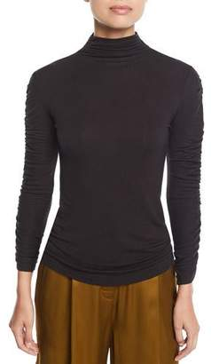 Josie Natori Mock-Neck Long-Sleeve Ruched Knit Top