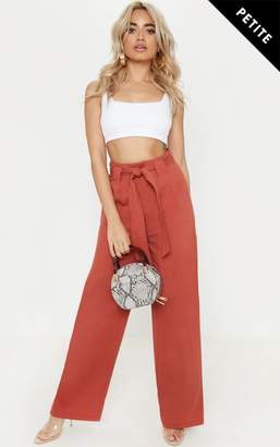 PrettyLittleThing Petite Rust Woven Belt Detail Wide Leg Trouser