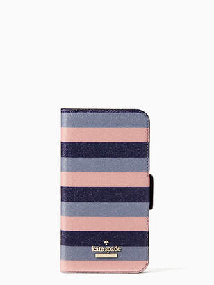 Kate Spade Glitter stripe iphone x & xs wrap folio case