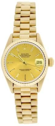 Rolex President 69178 18K Gold Champagne Stick Dial Fluted Bezel Womens Watch