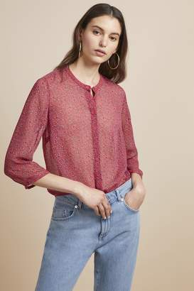 456a3e9a at French Connection · French Connection Aubine Crinkle Floral Collarless  Shirt