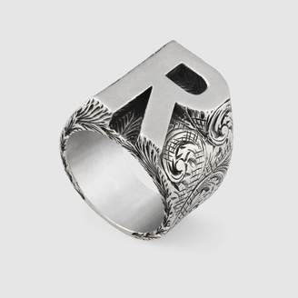 "Gucci R"" letter ring in silver"