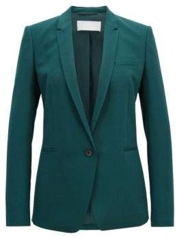 BOSS Hugo Regular-fit single-button jacket in stretch virgin wool 12 Open Green