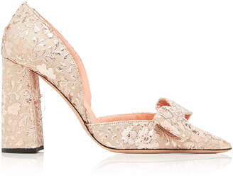 Rochas Bow-Embellished Brocade Pumps