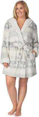 Cuddl Duds Plus Size Hooded Fleece Robe