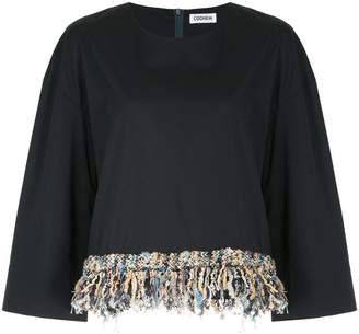 Coohem tweed-fringed fitted top