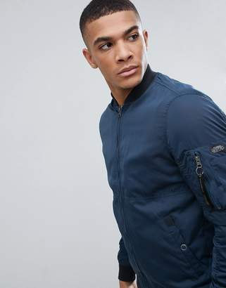Pull&Bear Bomber Jacket In Navy